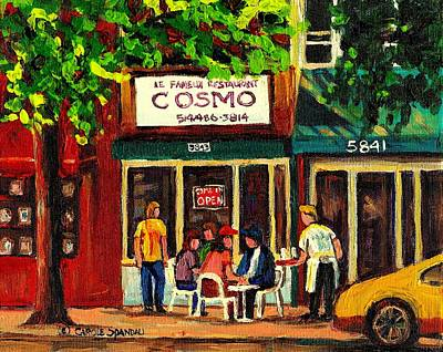 Cosmos Famous Montreal Breakfast Restaurant Art Print by Carole Spandau
