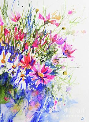 Painting - Cosmos Flowers In The Vase  by Zaira Dzhaubaeva
