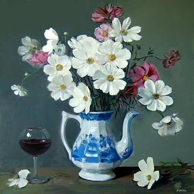 Stemware Painting - Cosmos In Blue And White Coffeepot by Robert Holden