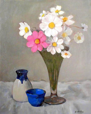 Painting - Cosmos In Fluted Glass Trumpet Vase With Pottery by Robert Holden