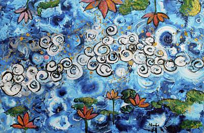 Painting - Cosmos Lotus Water Garden 201761 by Alyse Radenovic