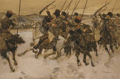 Highwaymen Photograph - Cossacks Attacking A Baggage Train by Everett