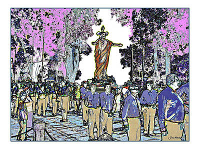 Digital Art - Costa Rica Easter Procession by Joan  Minchak