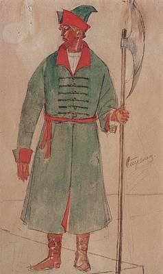 Ceramics Painting - Costume Design For  Boris Godunov  Tragedy Kuzma Petrov-vodkin - 1923 5 by Adam Asar