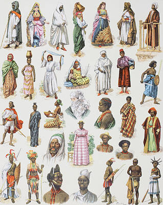 African Continent Drawing - Costumes From All Over The African by Vintage Design Pics