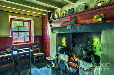 Sitting Mixed Media - Cosy Cottage Oil Painting by Ian Mitchell