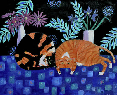 Tortie Painting - Cosy Companions by Mary Stubberfield