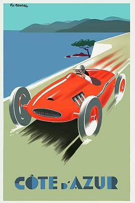 Digital Art - Cote D Azur  Vintage Travel Poster by Tom Prendergast