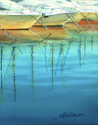 Painting - Cote D'azur Harbor Boats by Maryann Boysen