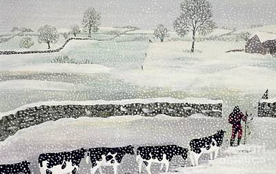 Dairy Farm Painting - Cotswold - Winter Scene by Maggie Rowe