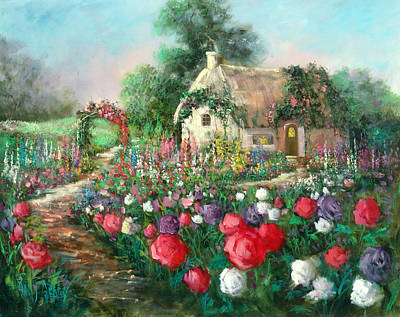 Cotswold Rose Garden Art Print by Sally Seago