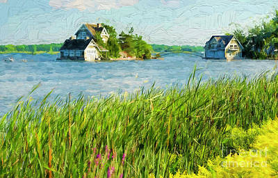 Photograph - Cottage And A Boathouse - Painterly by Les Palenik