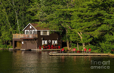 Photograph - Cottage And Boathouse  by Les Palenik