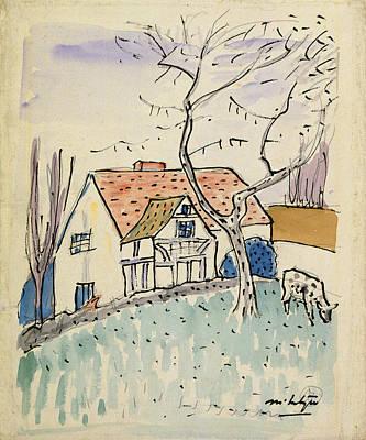 Raymond Painting - Cottage And Calf England by Raymond McIntyre