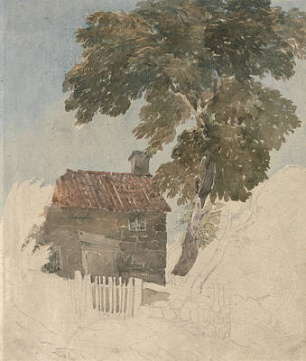 Painting - Cottage And Trees by David Cox