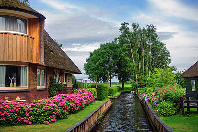Photograph - Cottage At Canal In Giethoorn. The Netherlands by Jenny Rainbow
