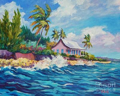 Crashing Surf Painting - Cottage At Prospect Reef by John Clark