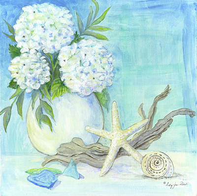 Painting - Cottage At The Shore 1 White Hydrangea Bouquet W Driftwood Starfish Sea Glass And Seashell by Audrey Jeanne Roberts