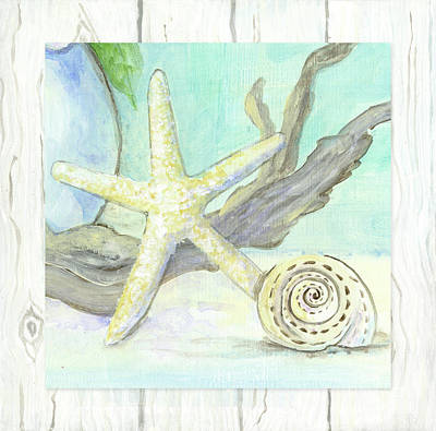 Painting - Cottage At The Shore 7 Starfish Driftwood And Seashell Over Wood by Audrey Jeanne Roberts