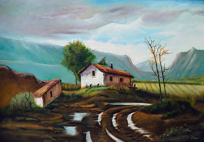 Painting - Cottage At The Top Of The Hill. by Tony Banos