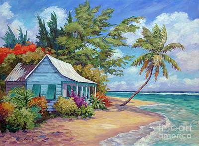 Caribbean Painting - Cottage At The Water's Edge by John Clark