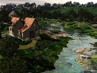 Digital Art - Cottage By The River by John Pangia