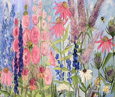 Cottage Flowers With Dragonfly Art Print