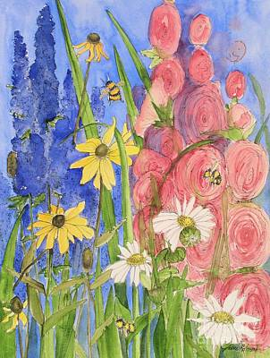 Painting - Cottage Garden Daisies And Blue Skies by Laurie Rohner