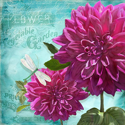 Dragonflies Mixed Media - Cottage Garden - Dinner Plate Dahlias W Dragonfly by Audrey Jeanne Roberts