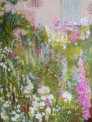 Foxglove Flowers Mixed Media - Cottage Garden by Frances Lowe