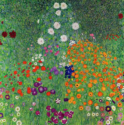 Zinnias Wall Art - Painting - Cottage Garden by Gustav Klimt