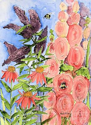 Painting - Cottage Garden Hollyhock Bees Blue Skie by Laurie Rohner