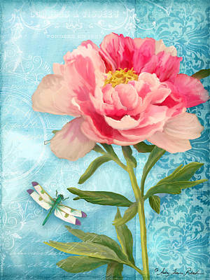 Damselfly Painting - Cottage Garden Pink Peony W Dragonfly by Audrey Jeanne Roberts