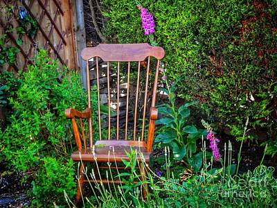 Photograph - Cottage Garden Rocking Chair by Joan-Violet Stretch