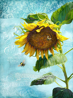 Printers Painting - Cottage Garden Sunflower - Everlastings Seeds N Flowers by Audrey Jeanne Roberts