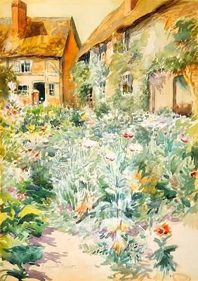 Charming Town Painting - Cottage Garden - Warwick England by Edmund Henry Garrett