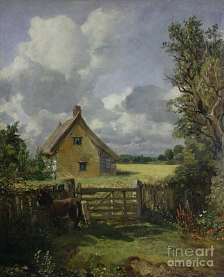 Cloudy Painting - Cottage In A Cornfield by John Constable