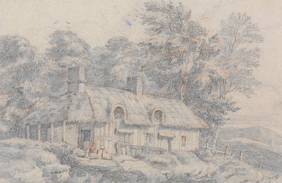 David Drawing - Cottage In Herefordshire by David Cox