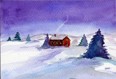 Painting - Cottage In Winter by Clara Sue Beym