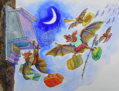 Bat Painting - Cottage Life by Leon Zernitsky