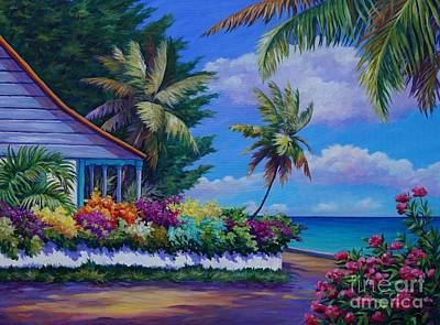 Caribbean Painting - Cottage Near Eden Rock by John Clark