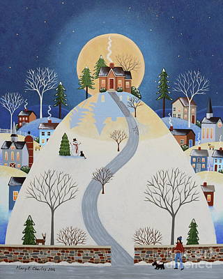 Folk Art Painting - Cottage On The Hill by Mary Charles
