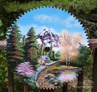 Painting - Cottage Painting On Sawblade by Lena Auxier