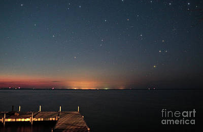 Country Cottage Photograph - Cottage Pier Under Stars by Charline Xia