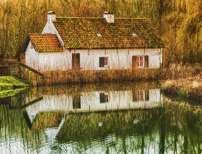Rural Art Photograph - Cottage Reflection by Wim Lanclus