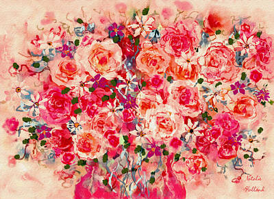 Mixed Media - Cottage Roses by Natalie Holland