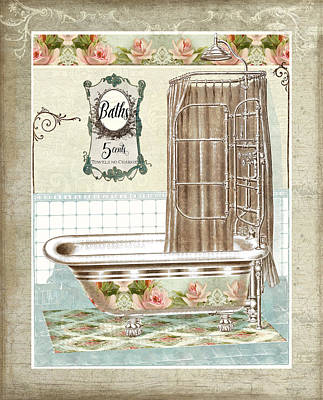Painting - Cottage Roses - Victorian Claw Foot Tub Bathroom Art by Audrey Jeanne Roberts