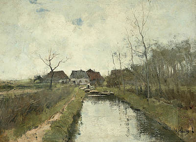 Ditch Painting - Cottage To A Ditch by Anton Mauve