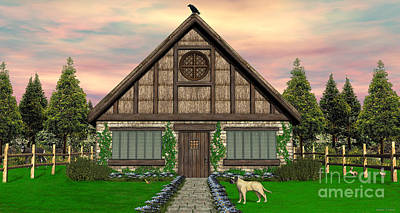Digital Art - Cottage by Walter Colvin