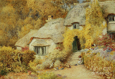 Somerset Wall Art - Painting - Cottages At Selworthy, Somerset by Arthur Claude Strachan